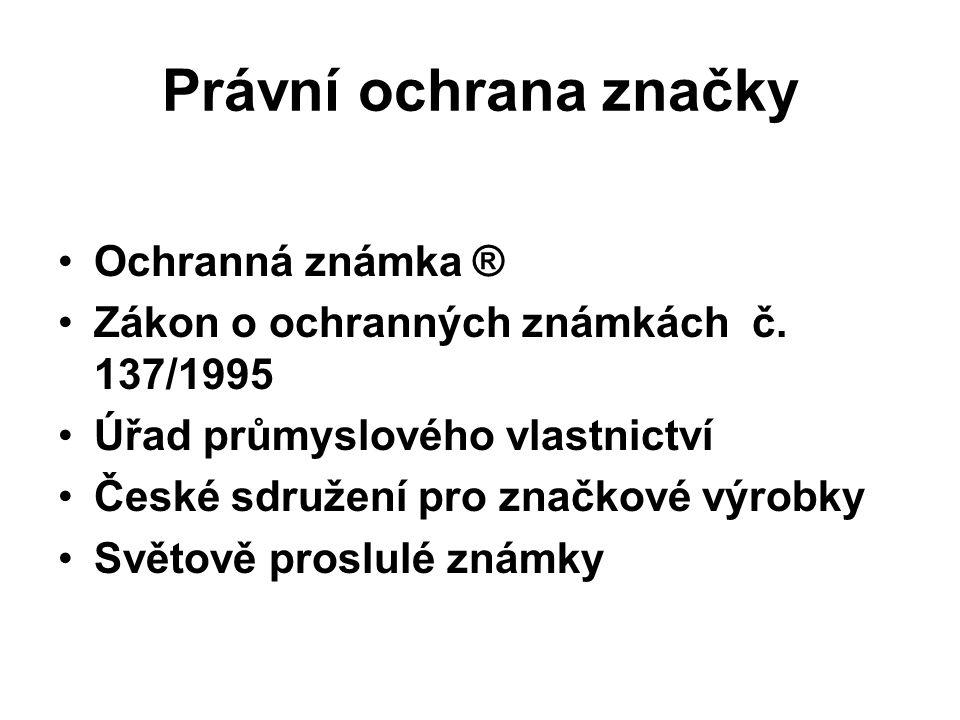 Právní ochrana značky Ochranná známka ® Zákon o ochranných známkách č.