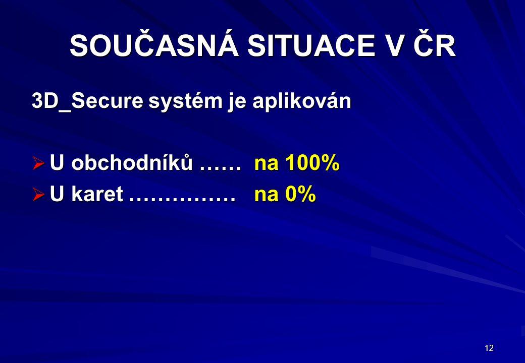 12 SOUČASNÁ SITUACE V ČR 3D_Secure systém je aplikován  U obchodníků …… na 100%  U karet …………… na 0%