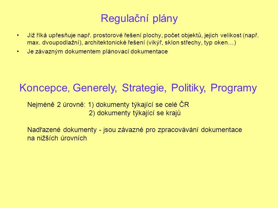 Regulační plány Již říká upřesňuje např.