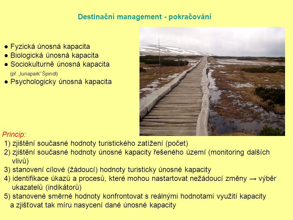 Destinační management - pokračování ● Fyzická únosná kapacita ● Biologická únosná kapacita ● Sociokulturně únosná kapacita (př.