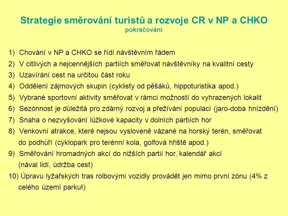 Strategie směrování turistů a rozvoje CR v NP a CHKO pokračování 1)Chování v NP a CHKO se řídí návštěvním řádem 2)V citlivých a nejcennějších partiích směřovat návštěvníky na kvalitní cesty 3)Uzavírání cest na určitou část roku 4)Oddělení zájmových skupin (cyklisty od pěšáků, hippoturistika apod.) 5)Vybrané sportovní aktivity směřovat v rámci možností do vyhrazených lokalit 6)Sezónnost je důležitá pro zdárný rozvoj a přežívání populací (jaro-doba hnízdění) 7)Snaha o nezvyšování lůžkové kapacity v dolních partiích hor 8)Venkovní atrakce, které nejsou vysloveně vázané na horský terén, směřovat do podhůří (cyklopark pro terénní kola, golfová hřiště apod.) 9)Směřování hromadných akcí do nižších partií hor, kalendář akcí (nával lidí, údržba cest) 10) Úpravu lyžařských tras rolbovými vozidly provádět jen mimo první zónu (4% z celého území parku!)