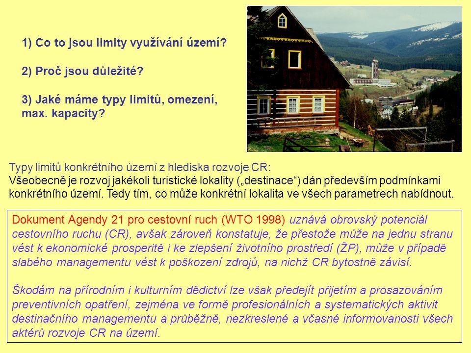 Limity, které ovlivňují záměr i v lokalitě s částečným managementem : Limity dané charakterem prostředí Limity dané vybudovanou lidskou infrastrukturou Limity dané poptávkou spotřebitelů Limity dané potřebami místních obyvatel a jinými vlivy Limity dané legislativou a jiným nadřazeným zájmem společnosti Praxe - kvalitní destinační management, alespoň v Krkonoších, moc neexistuje