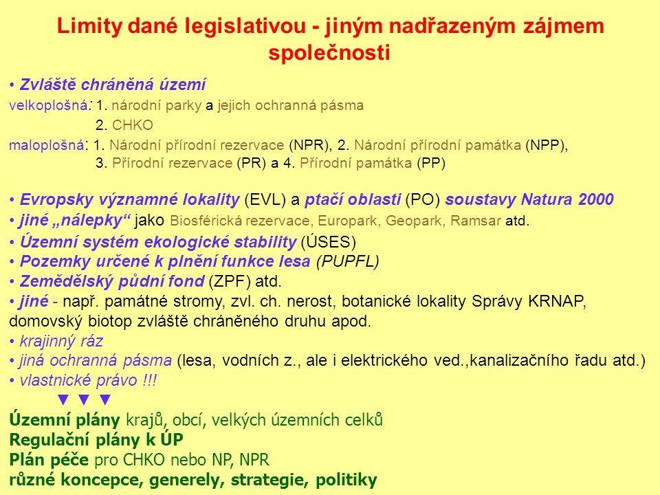 Limity dané legislativou - jiným nadřazeným zájmem společnosti Zvláště chráněná území velkoplošná : 1.