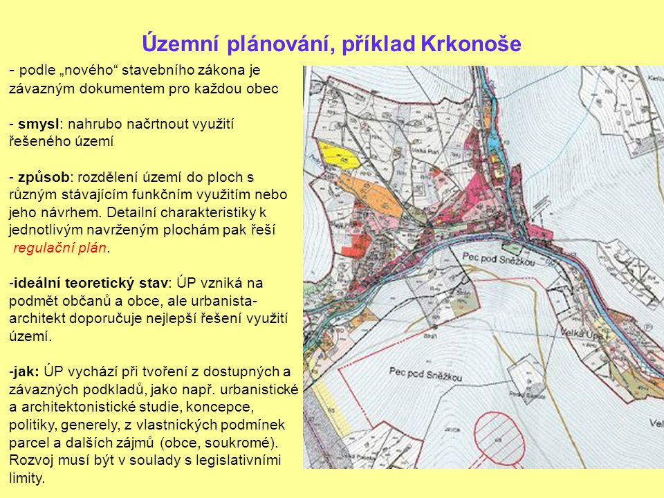 """Územní plánování, příklad Krkonoše - podle """"nového stavebního zákona je závazným dokumentem pro každou obec - smysl: nahrubo načrtnout využití řešeného území - způsob: rozdělení území do ploch s různým stávajícím funkčním využitím nebo jeho návrhem."""