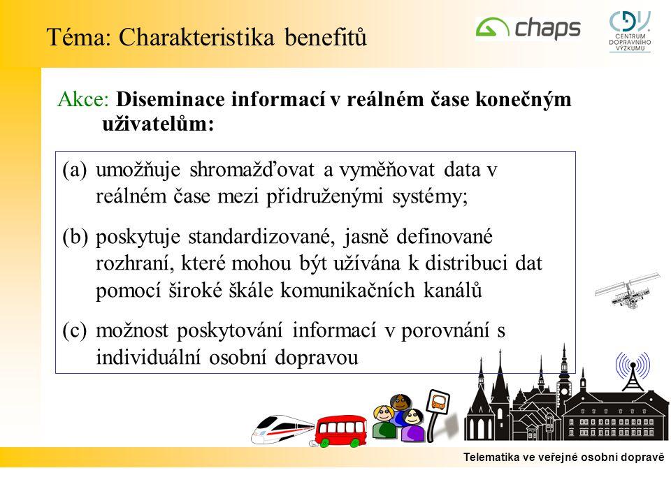 Telematika ve veřejné osobní dopravě Akce: Diseminace informací v reálném čase konečným uživatelům: Téma: Charakteristika benefitů (a)umožňuje shromažďovat a vyměňovat data v reálném čase mezi přidruženými systémy; (b)poskytuje standardizované, jasně definované rozhraní, které mohou být užívána k distribuci dat pomocí široké škále komunikačních kanálů (c)možnost poskytování informací v porovnání s individuální osobní dopravou