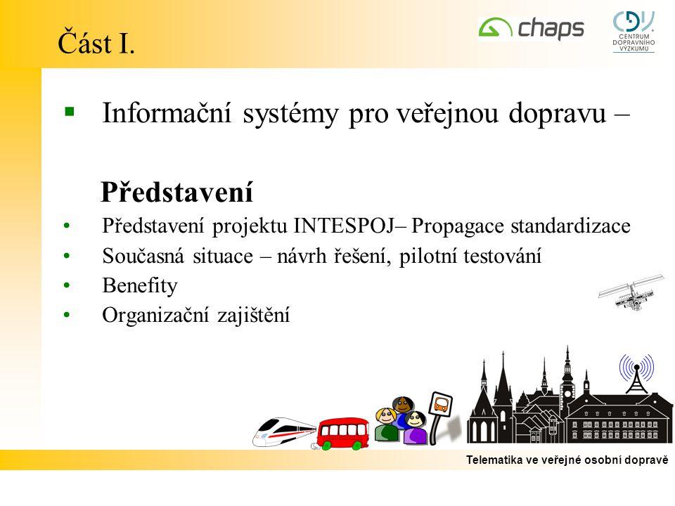 Telematika ve veřejné osobní dopravě Část I.  Informační systémy pro veřejnou dopravu – Představení Představení projektu INTESPOJ– Propagace standard