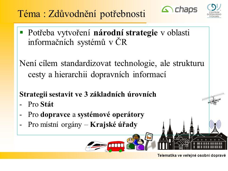 Telematika ve veřejné osobní dopravě  Potřeba vytvoření národní strategie v oblasti informačních systémů v ČR Není cílem standardizovat technologie,