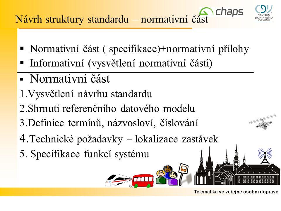 Telematika ve veřejné osobní dopravě  Normativní část ( specifikace)+normativní přílohy  Informativní (vysvětlení normativní části)  Normativní část 1.Vysvětlení návrhu standardu 2.Shrnutí referenčního datového modelu 3.Definice termínů, názvosloví, číslování 4.