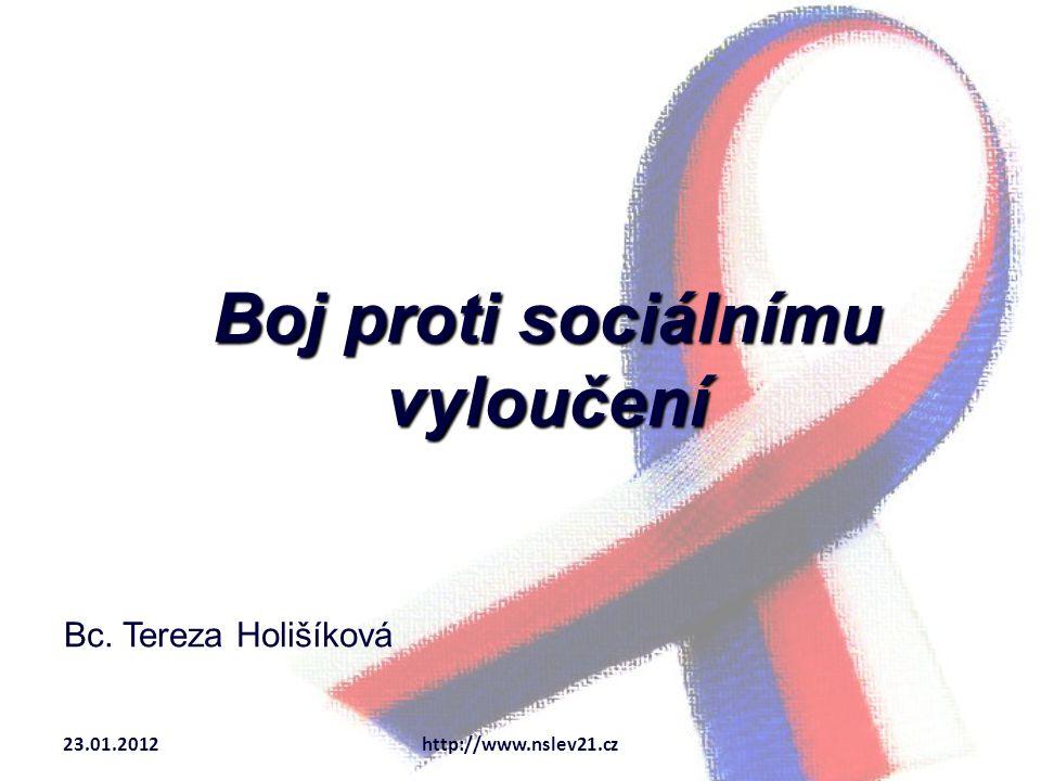 Boj proti sociálnímu vyloučení Bc. Tereza Holišíková 23.01.2012http://www.nslev21.cz