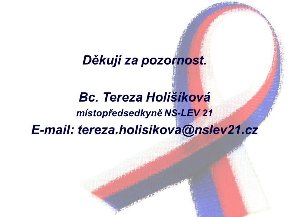 Děkuji za pozornost. Bc. Tereza Holišíková místopředsedkyně NS-LEV 21 E-mail: tereza.holisikova@nslev21.cz