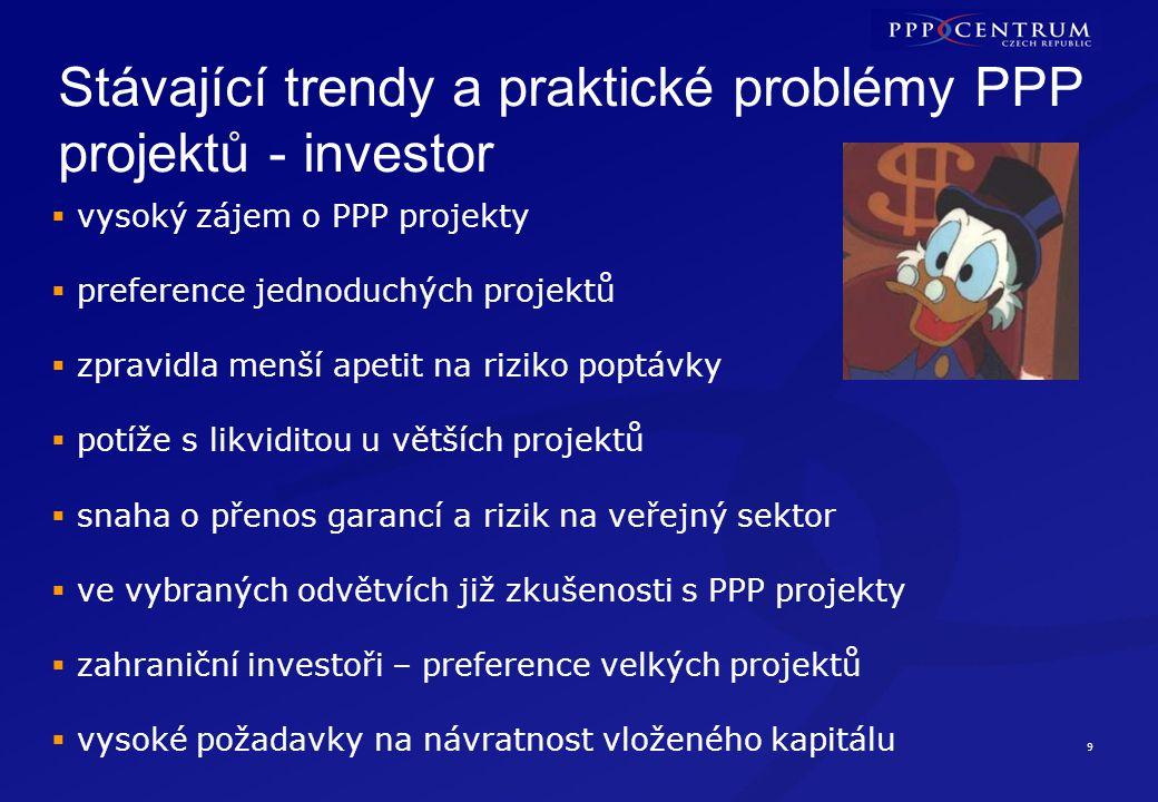 9 Stávající trendy a praktické problémy PPP projektů - investor  vysoký zájem o PPP projekty  preference jednoduchých projektů  zpravidla menší ape