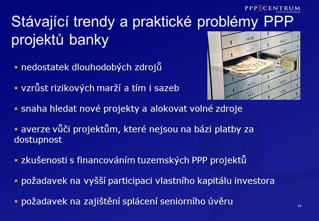 10 Stávající trendy a praktické problémy PPP projektů banky  nedostatek dlouhodobých zdrojů  vzrůst rizikových marží a tím i sazeb  snaha hledat no