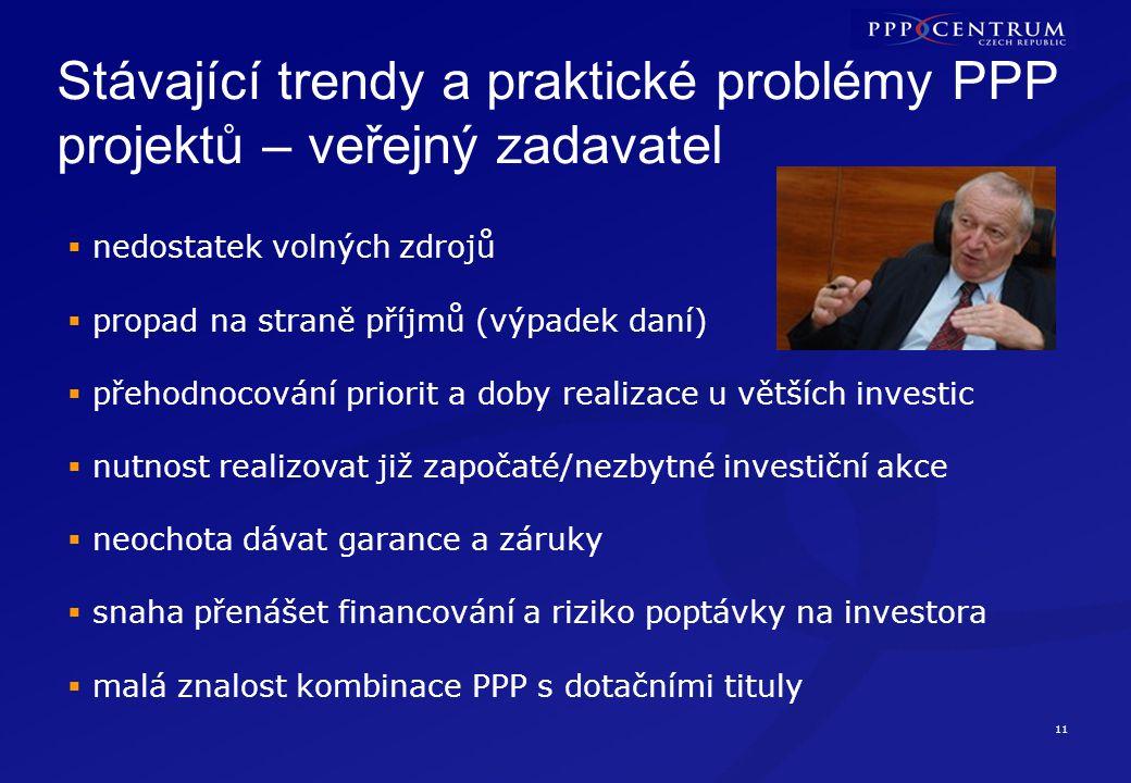 11 Stávající trendy a praktické problémy PPP projektů – veřejný zadavatel  nedostatek volných zdrojů  propad na straně příjmů (výpadek daní)  přeho