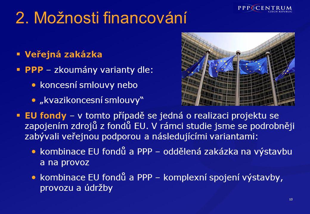 """13 2. Možnosti financování  Veřejná zakázka  PPP – zkoumány varianty dle: koncesní smlouvy nebo """"kvazikoncesní smlouvy""""  EU fondy – v tomto případě"""