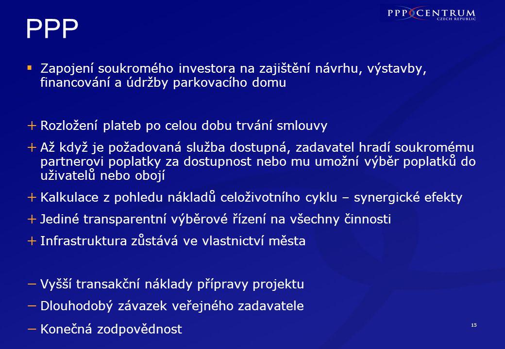 15 PPP  Zapojení soukromého investora na zajištění návrhu, výstavby, financování a údržby parkovacího domu + Rozložení plateb po celou dobu trvání sm