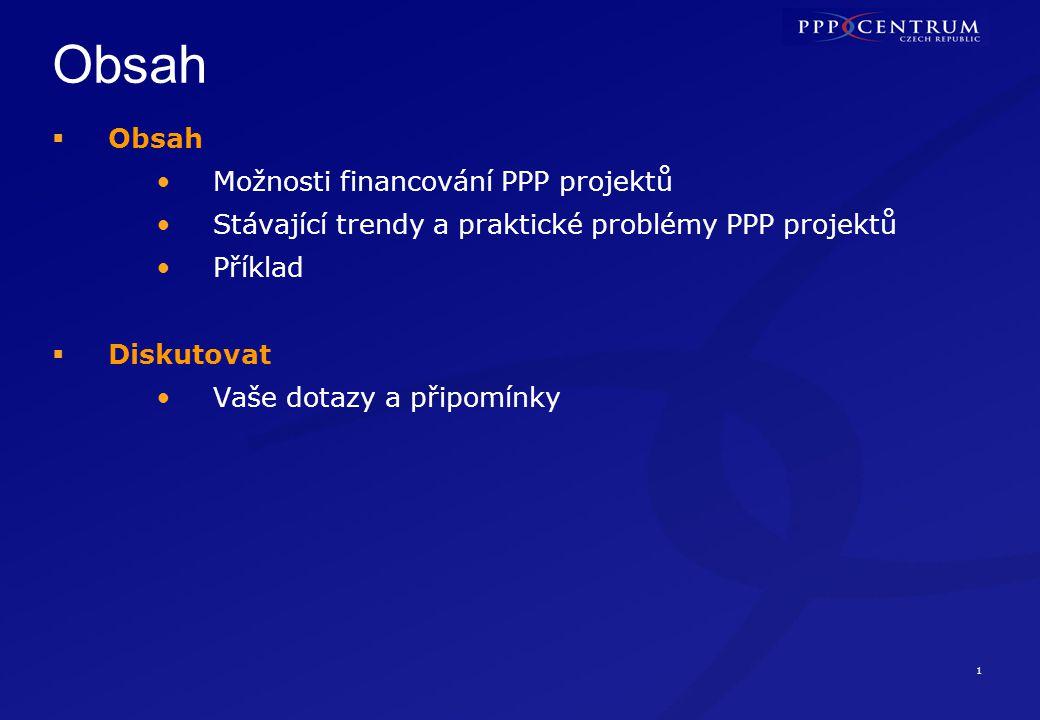 1 Obsah  Obsah Možnosti financování PPP projektů Stávající trendy a praktické problémy PPP projektů Příklad  Diskutovat Vaše dotazy a připomínky
