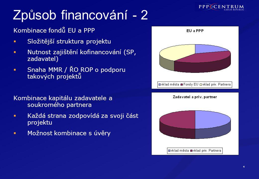 4 Způsob financování - 2 Kombinace fondů EU a PPP  Složitější struktura projektu  Nutnost zajištění kofinancování (SP, zadavatel)  Snaha MMR / ŘO R