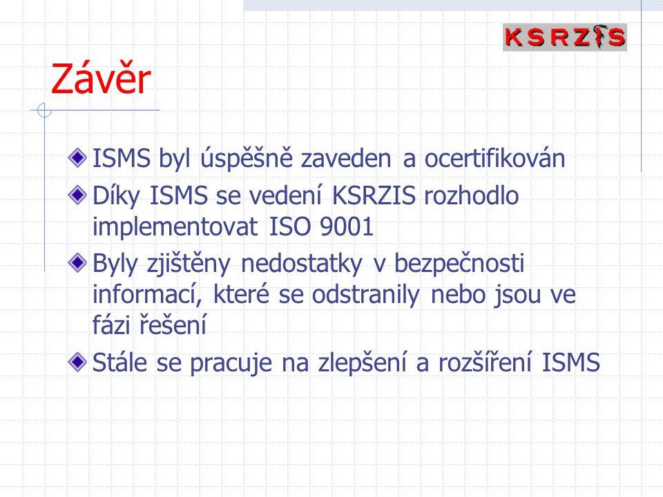 Závěr ISMS byl úspěšně zaveden a ocertifikován Díky ISMS se vedení KSRZIS rozhodlo implementovat ISO 9001 Byly zjištěny nedostatky v bezpečnosti infor