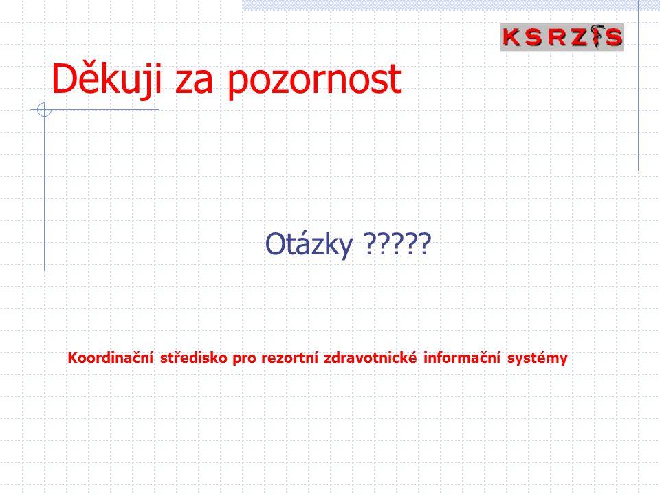 Děkuji za pozornost Otázky ????? Koordinační středisko pro rezortní zdravotnické informační systémy