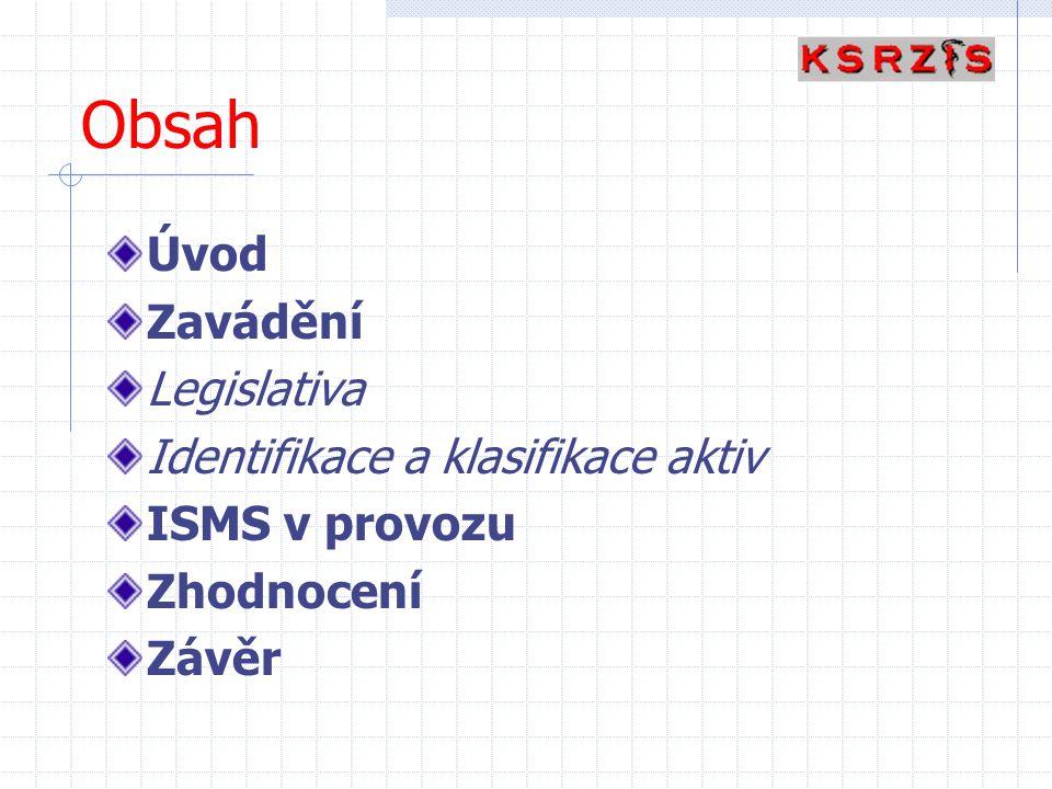 Obsah Úvod Zavádění Legislativa Identifikace a klasifikace aktiv ISMS v provozu Zhodnocení Závěr