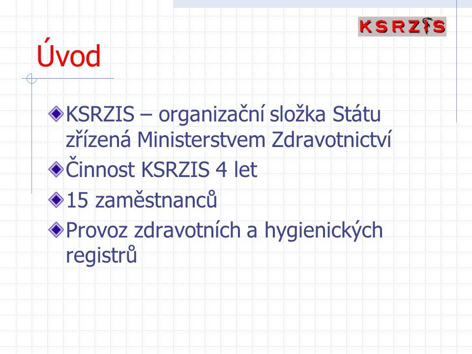 Úvod KSRZIS – organizační složka Státu zřízená Ministerstvem Zdravotnictví Činnost KSRZIS 4 let 15 zaměstnanců Provoz zdravotních a hygienických regis