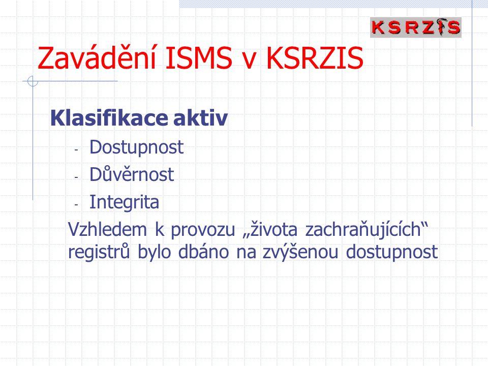 """Zavádění ISMS v KSRZIS Klasifikace aktiv - Dostupnost - Důvěrnost - Integrita Vzhledem k provozu """"života zachraňujících"""" registrů bylo dbáno na zvýšen"""
