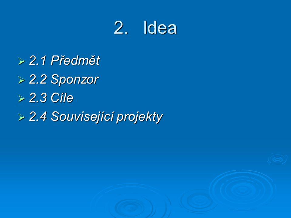 2.Idea  2.1 Předmět  2.2 Sponzor  2.3 Cíle  2.4 Související projekty