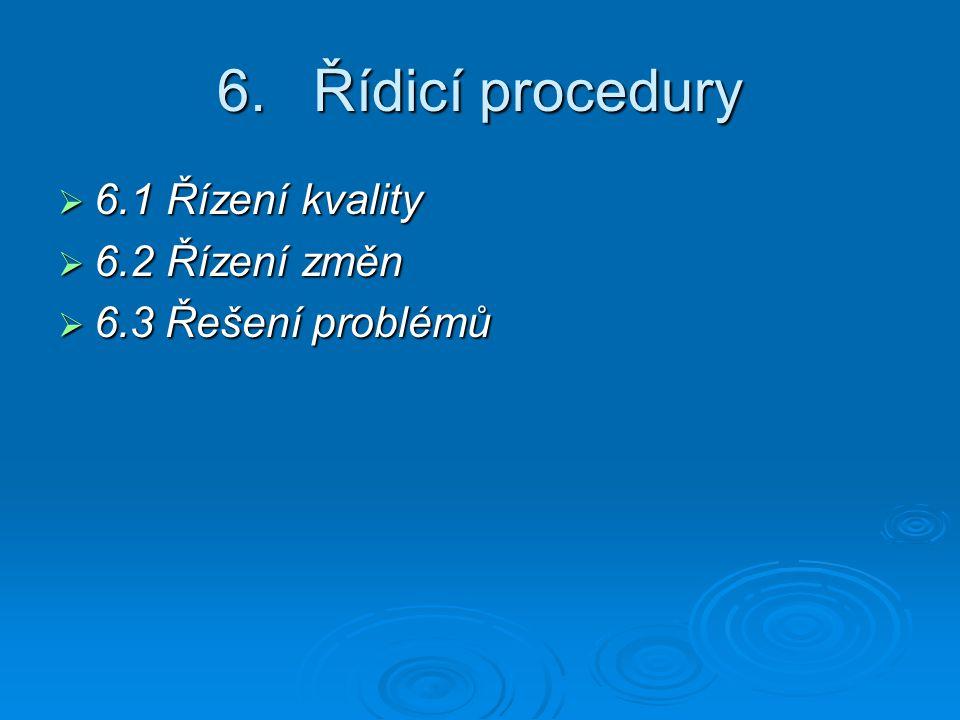6.Řídicí procedury  6.1 Řízení kvality  6.2 Řízení změn  6.3 Řešení problémů