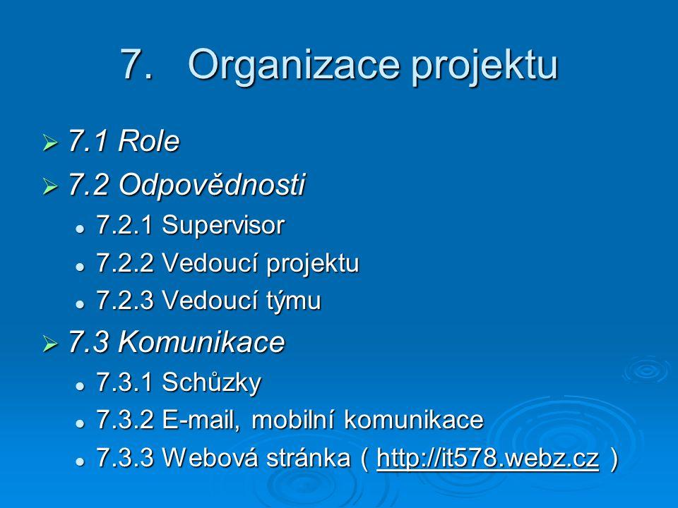7.Organizace projektu  7.1 Role  7.2 Odpovědnosti 7.2.1 Supervisor 7.2.1 Supervisor 7.2.2 Vedoucí projektu 7.2.2 Vedoucí projektu 7.2.3 Vedoucí týmu 7.2.3 Vedoucí týmu  7.3 Komunikace 7.3.1 Schůzky 7.3.1 Schůzky 7.3.2 E-mail, mobilní komunikace 7.3.2 E-mail, mobilní komunikace 7.3.3 Webová stránka ( http://it578.webz.cz ) 7.3.3 Webová stránka ( http://it578.webz.cz )