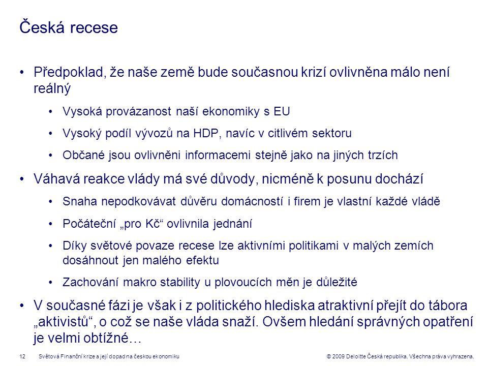 12© 2009 Deloitte Česká republika. Všechna práva vyhrazena.