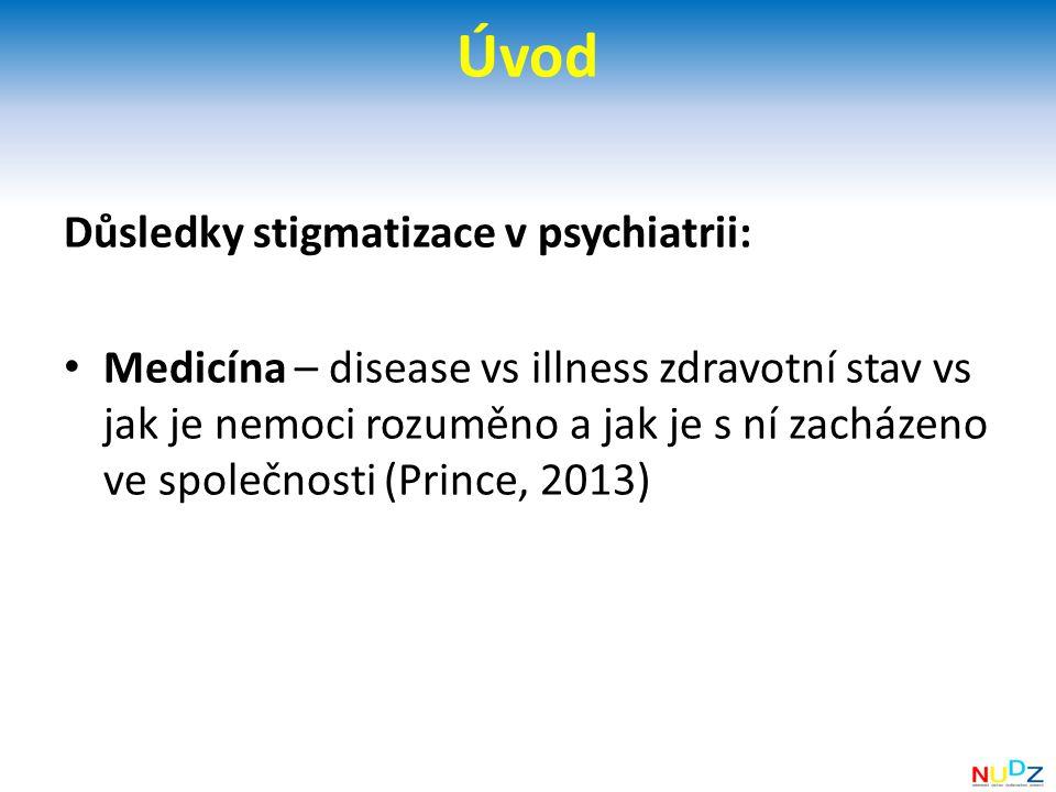 Úvod Důsledky stigmatizace v psychiatrii: Medicína – disease vs illness zdravotní stav vs jak je nemoci rozuměno a jak je s ní zacházeno ve společnosti (Prince, 2013)