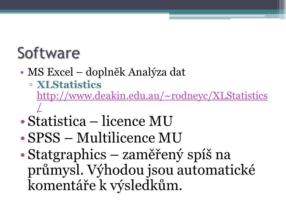 Software MS Excel – doplněk Analýza dat ▫XLStatistics http://www.deakin.edu.au/~rodneyc/XLStatistics / http://www.deakin.edu.au/~rodneyc/XLStatistics