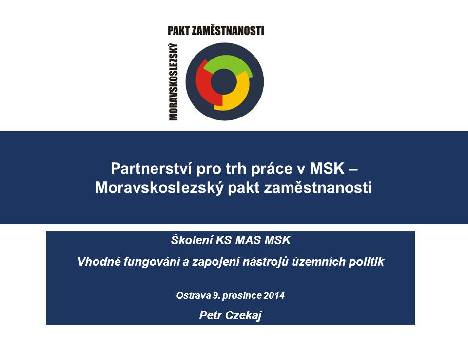 Partnerství pro trh práce v MSK – Moravskoslezský pakt zaměstnanosti Školení KS MAS MSK Vhodné fungování a zapojení nástrojů územních politik Ostrava 9.