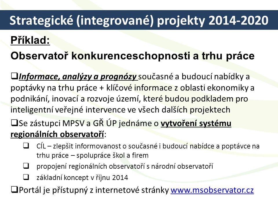 Strategické (integrované) projekty 2014-2020 Příklad: Observatoř konkurenceschopnosti a trhu práce  Informace, analýzy a prognózy současné a budoucí