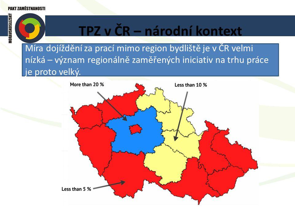 TPZ v ČR – národní kontext Míra dojíždění za prací mimo region bydliště je v ČR velmi nízká – význam regionálně zaměřených iniciativ na trhu práce je