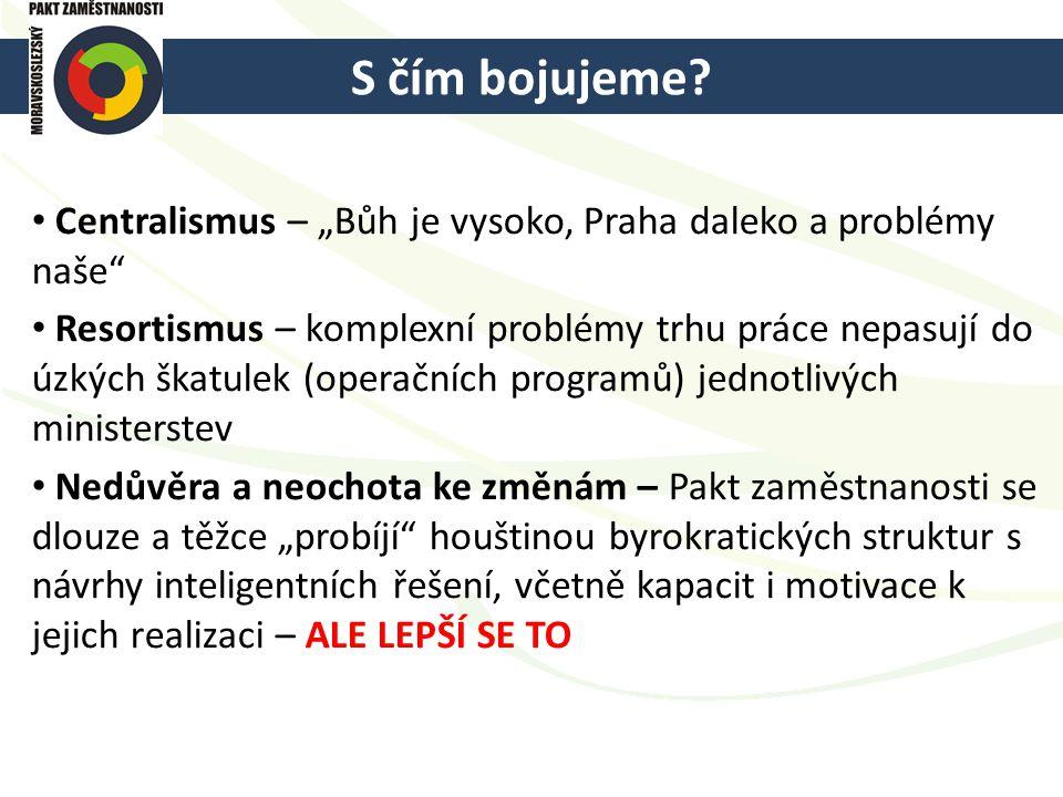 """S čím bojujeme? Centralismus – """"Bůh je vysoko, Praha daleko a problémy naše"""" Resortismus – komplexní problémy trhu práce nepasují do úzkých škatulek ("""
