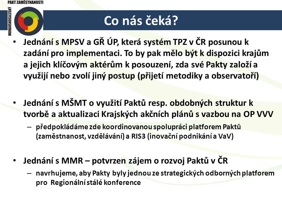 Co nás čeká? Jednání s MPSV a GŘ ÚP, která systém TPZ v ČR posunou k zadání pro implementaci. To by pak mělo být k dispozici krajům a jejich klíčovým