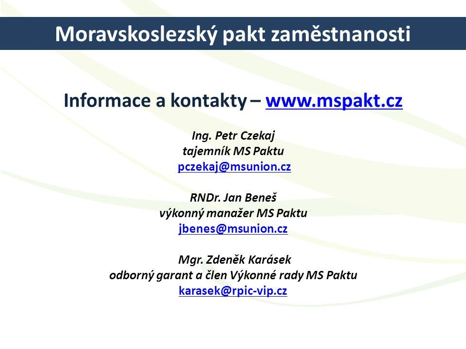 Informace a kontakty – www.mspakt.cz Ing. Petr Czekaj tajemník MS Paktu pczekaj@msunion.cz RNDr. Jan Beneš výkonný manažer MS Paktu jbenes@msunion.cz