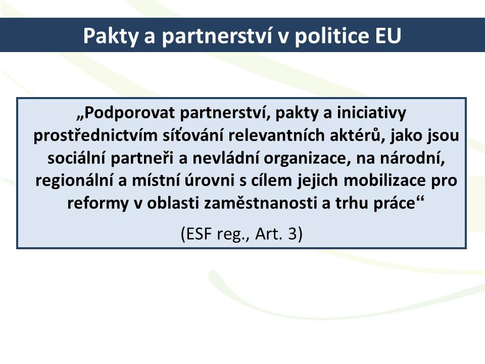 """Pakty a partnerství v politice EU """"Podporovat partnerství, pakty a iniciativy prostřednictvím síťování relevantních aktérů, jako jsou sociální partneř"""