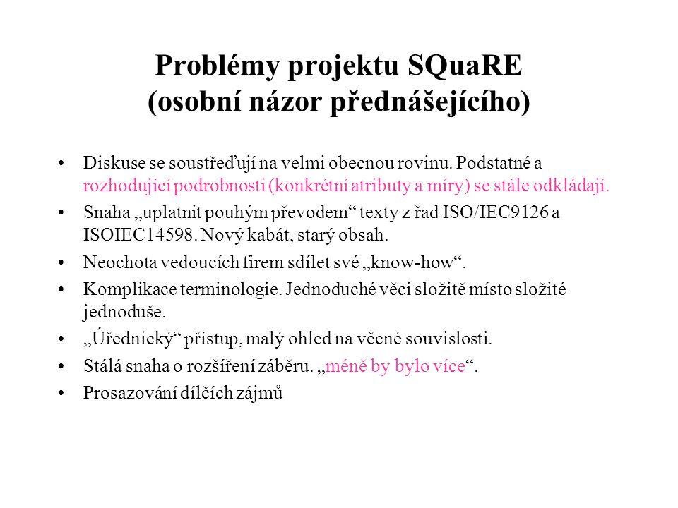 Problémy projektu SQuaRE (osobní názor přednášejícího) Diskuse se soustřeďují na velmi obecnou rovinu. Podstatné a rozhodující podrobnosti (konkrétní