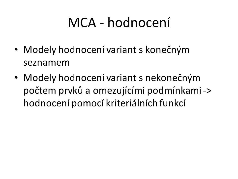 MCA - hodnocení Modely hodnocení variant s konečným seznamem Modely hodnocení variant s nekonečným počtem prvků a omezujícími podmínkami -> hodnocení pomocí kriteriálních funkcí