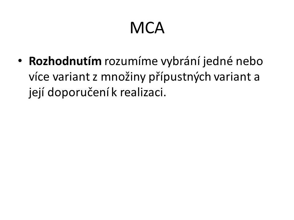 MCA Rozhodnutím rozumíme vybrání jedné nebo více variant z množiny přípustných variant a její doporučení k realizaci.