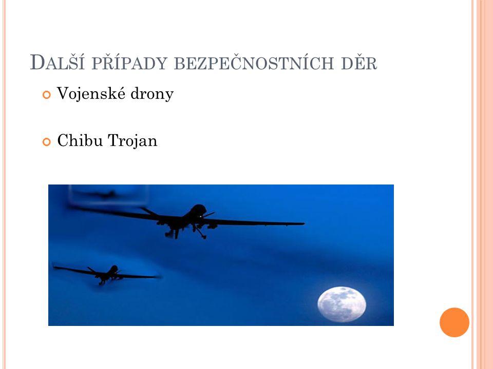 D ALŠÍ PŘÍPADY BEZPEČNOSTNÍCH DĚR Vojenské drony Chibu Trojan