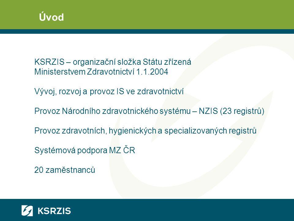Úvod KSRZIS – organizační složka Státu zřízená Ministerstvem Zdravotnictví 1.1.2004 Vývoj, rozvoj a provoz IS ve zdravotnictví Provoz Národního zdravotnického systému – NZIS (23 registrů) Provoz zdravotních, hygienických a specializovaných registrů Systémová podpora MZ ČR 20 zaměstnanců