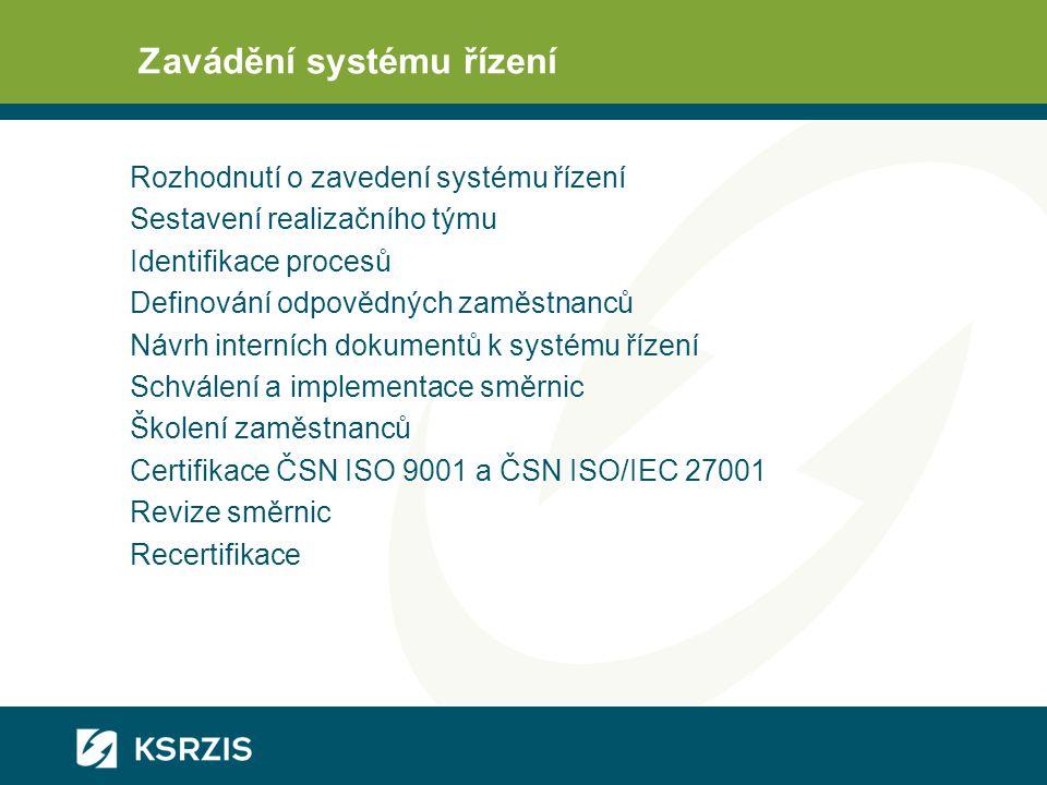 Zavádění systému řízení Rozhodnutí o zavedení systému řízení Sestavení realizačního týmu Identifikace procesů Definování odpovědných zaměstnanců Návrh interních dokumentů k systému řízení Schválení a implementace směrnic Školení zaměstnanců Certifikace ČSN ISO 9001 a ČSN ISO/IEC 27001 Revize směrnic Recertifikace