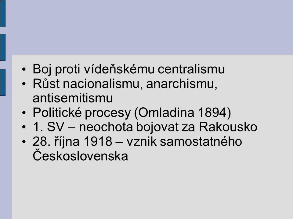 Boj proti vídeňskému centralismu Růst nacionalismu, anarchismu, antisemitismu Politické procesy (Omladina 1894) 1. SV – neochota bojovat za Rakousko 2
