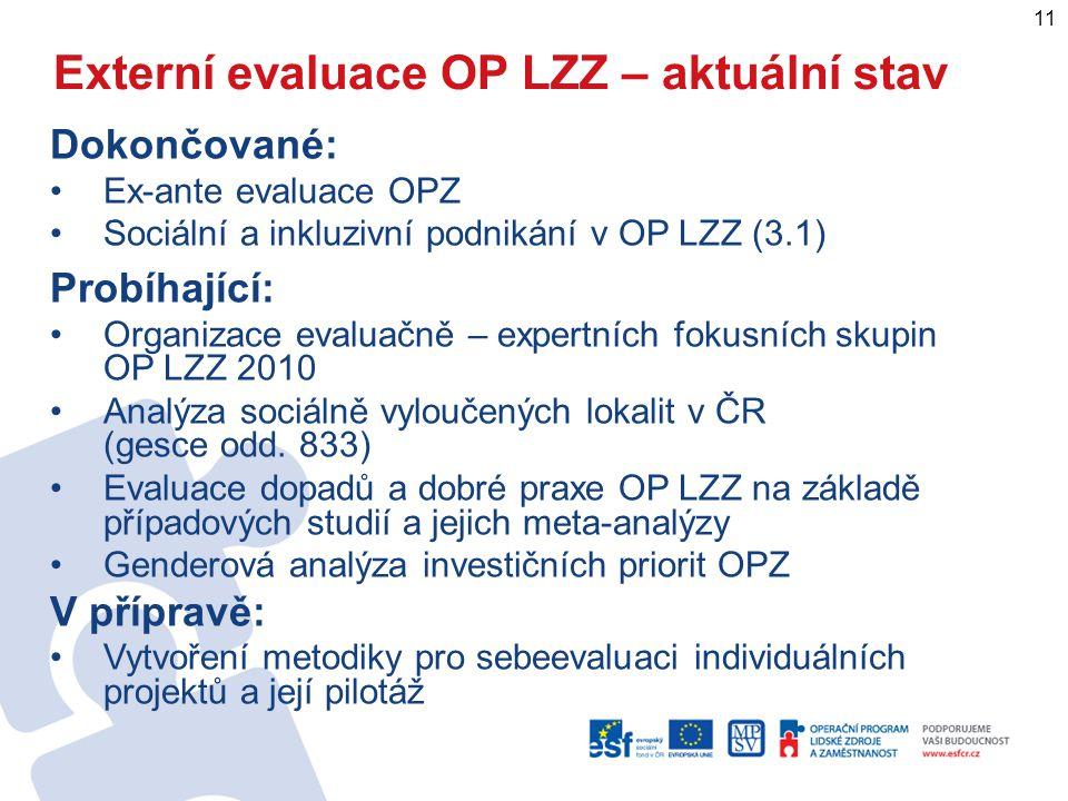 Externí evaluace OP LZZ – aktuální stav Dokončované: Ex-ante evaluace OPZ Sociální a inkluzivní podnikání v OP LZZ (3.1) Probíhající: Organizace evaluačně – expertních fokusních skupin OP LZZ 2010 Analýza sociálně vyloučených lokalit v ČR (gesce odd.