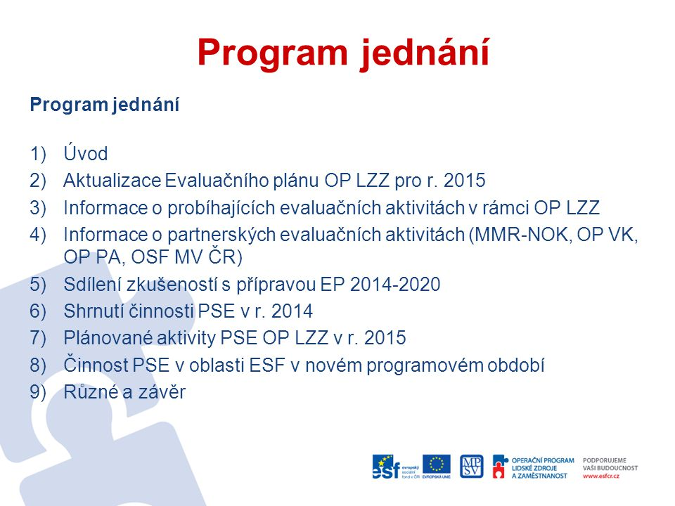 Program jednání 1)Úvod 2)Aktualizace Evaluačního plánu OP LZZ pro r.