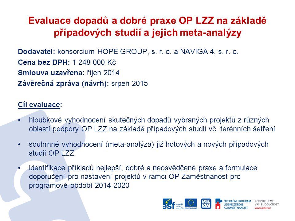 Evaluace dopadů a dobré praxe OP LZZ na základě případových studií a jejich meta-analýzy Dodavatel: konsorcium HOPE GROUP, s.