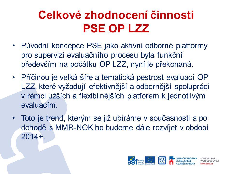 Celkové zhodnocení činnosti PSE OP LZZ Původní koncepce PSE jako aktivní odborné platformy pro supervizi evaluačního procesu byla funkční především na počátku OP LZZ, nyní je překonaná.